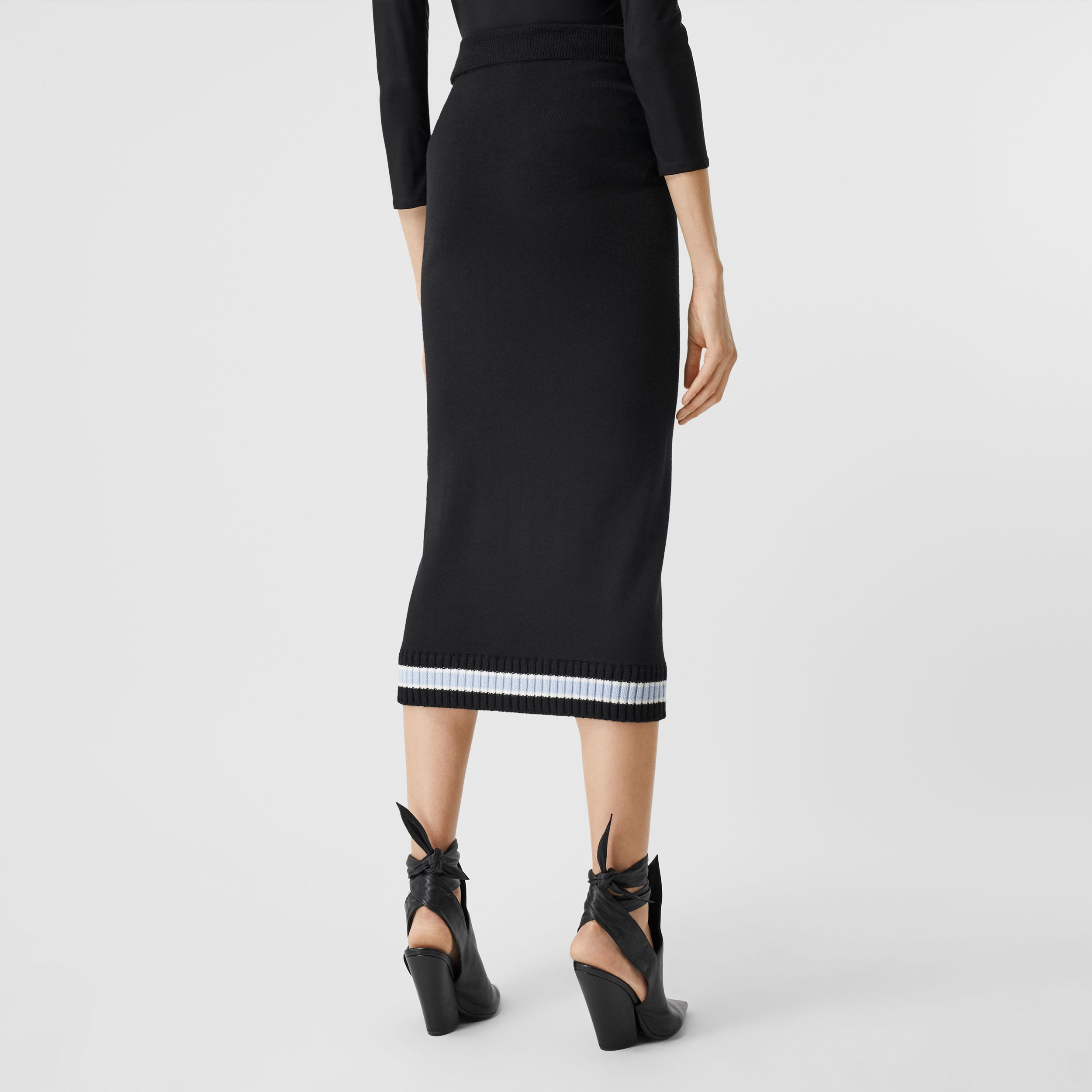 Rib Knit Stripe Detail Wool Skirt in Black - Women | Burberry - 3