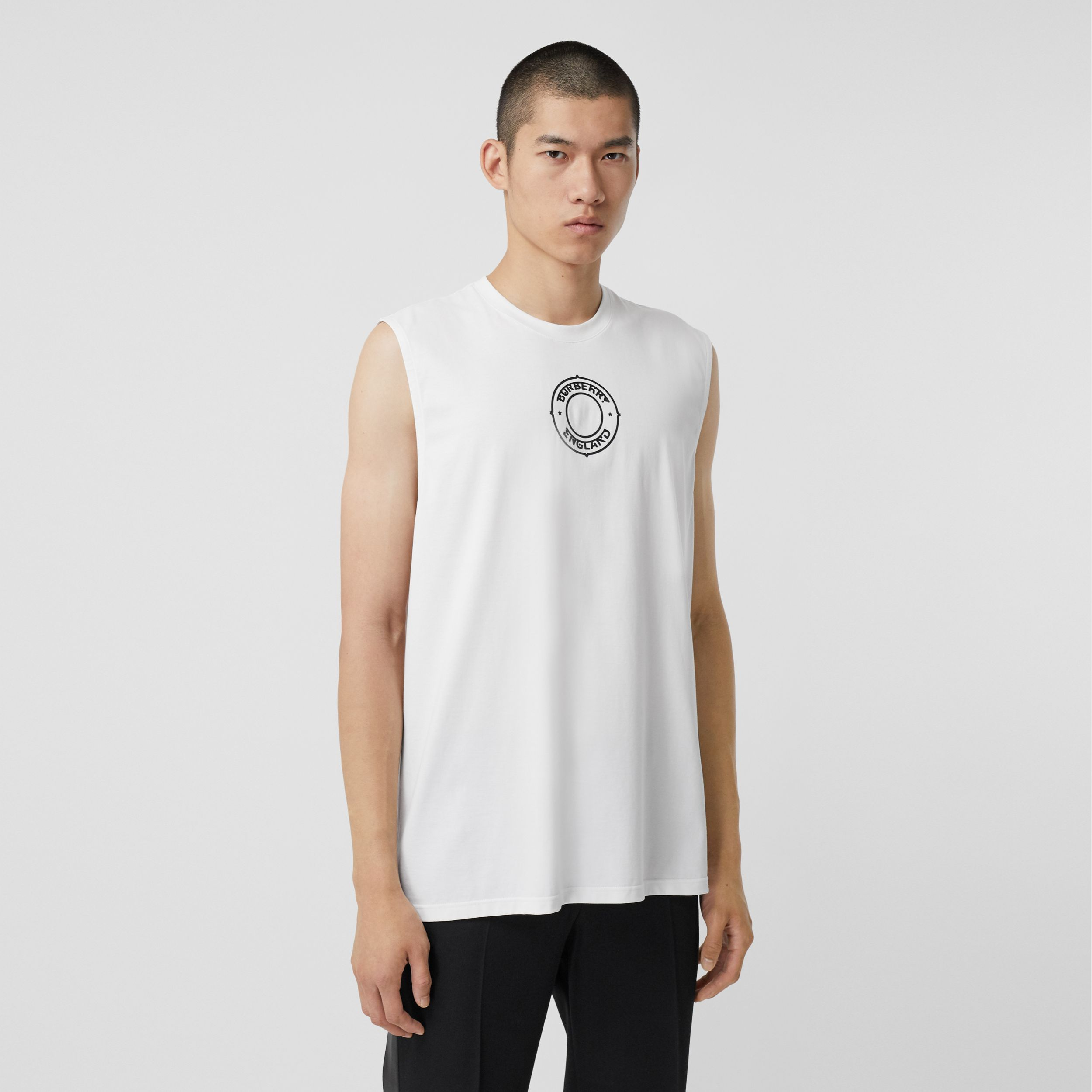 Logo Graphic Print Cotton Vest in White | Burberry United States - 1