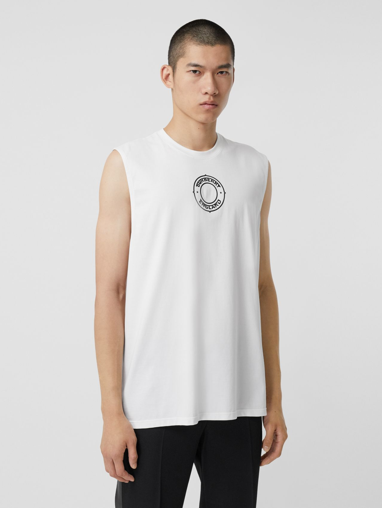 Logo Graphic Print Cotton Vest in White