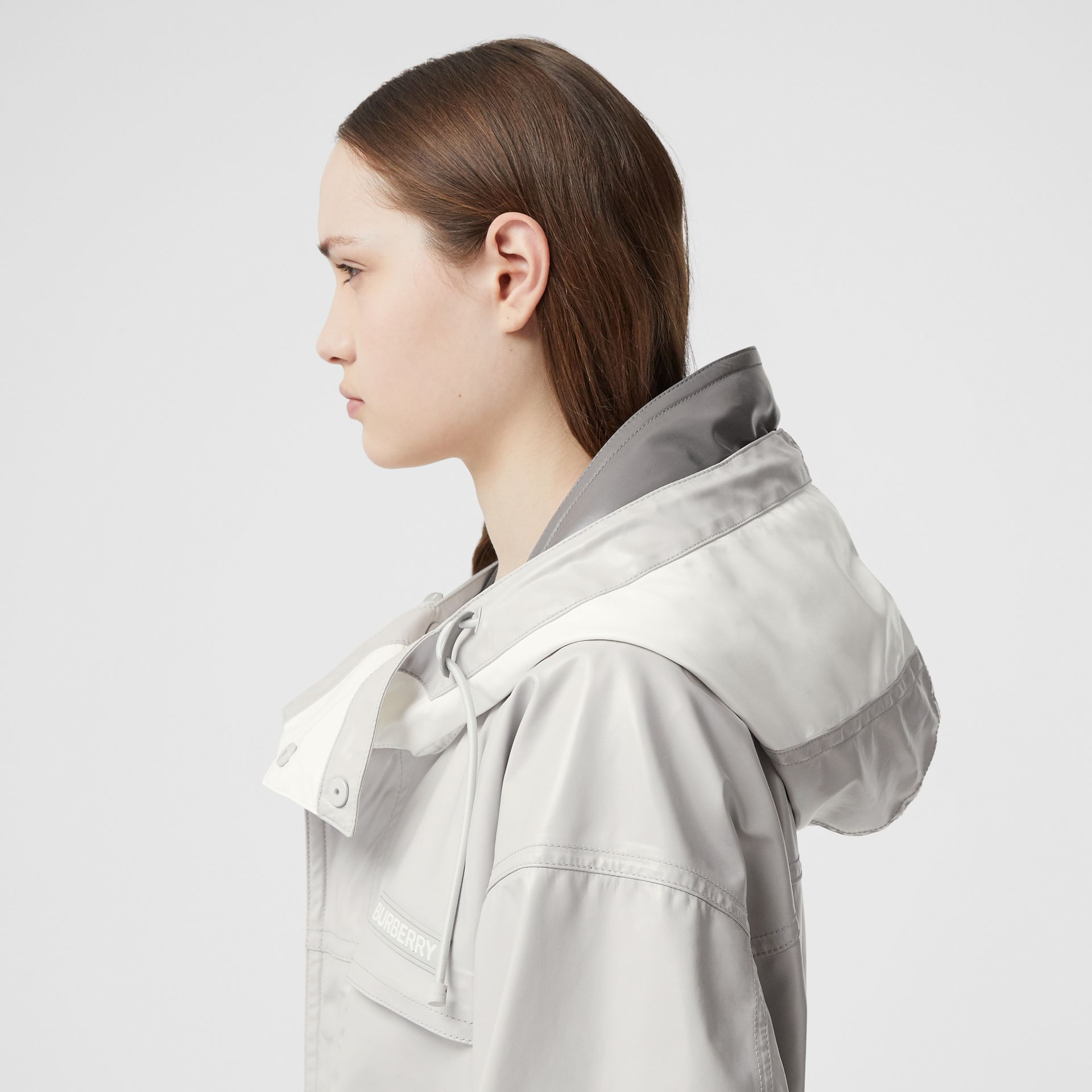 Cut-out Hem Coated Nylon Parka in Light Pebble Grey - Women | Burberry United Kingdom - gallery image 4