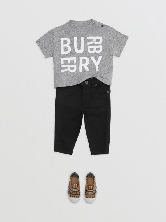 Camiseta de malha de algodão com estampa de logotipo (Cinza Mesclado)