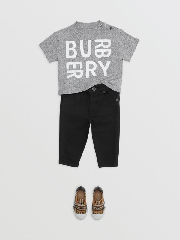 Logo Print Cotton Blend Jersey T-shirt in Grey Melange - Children | Burberry Singapore - cell image 2