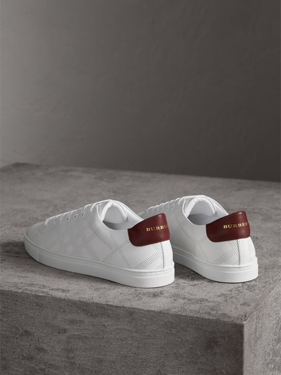Perforated Check Leather Sneakers in Optic White | Burberry - cell image 3