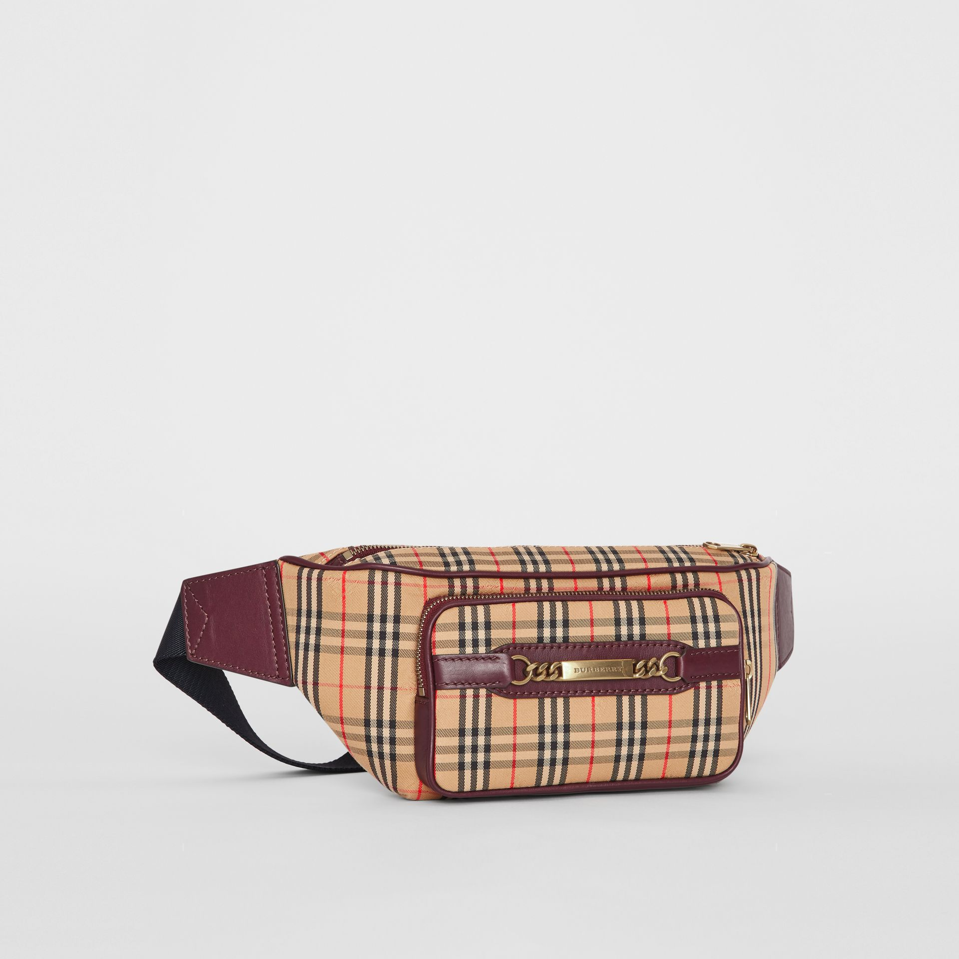 The Large 1983 Check Link Bum Bag in Oxblood - Men | Burberry United Kingdom - gallery image 4