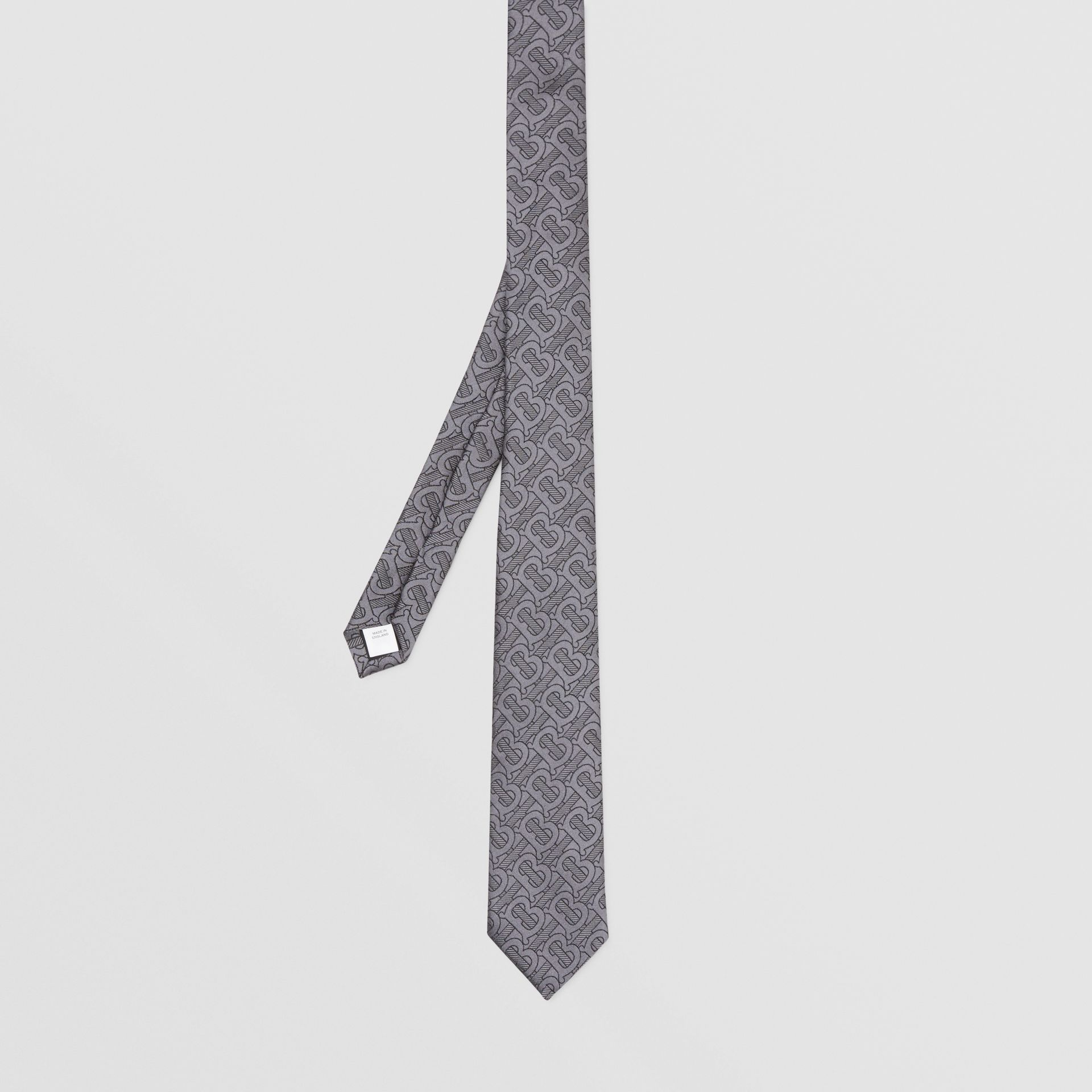 Classic Cut Monogram Silk Blend Jacquard Tie in Charcoal - Men | Burberry Hong Kong S.A.R - gallery image 4