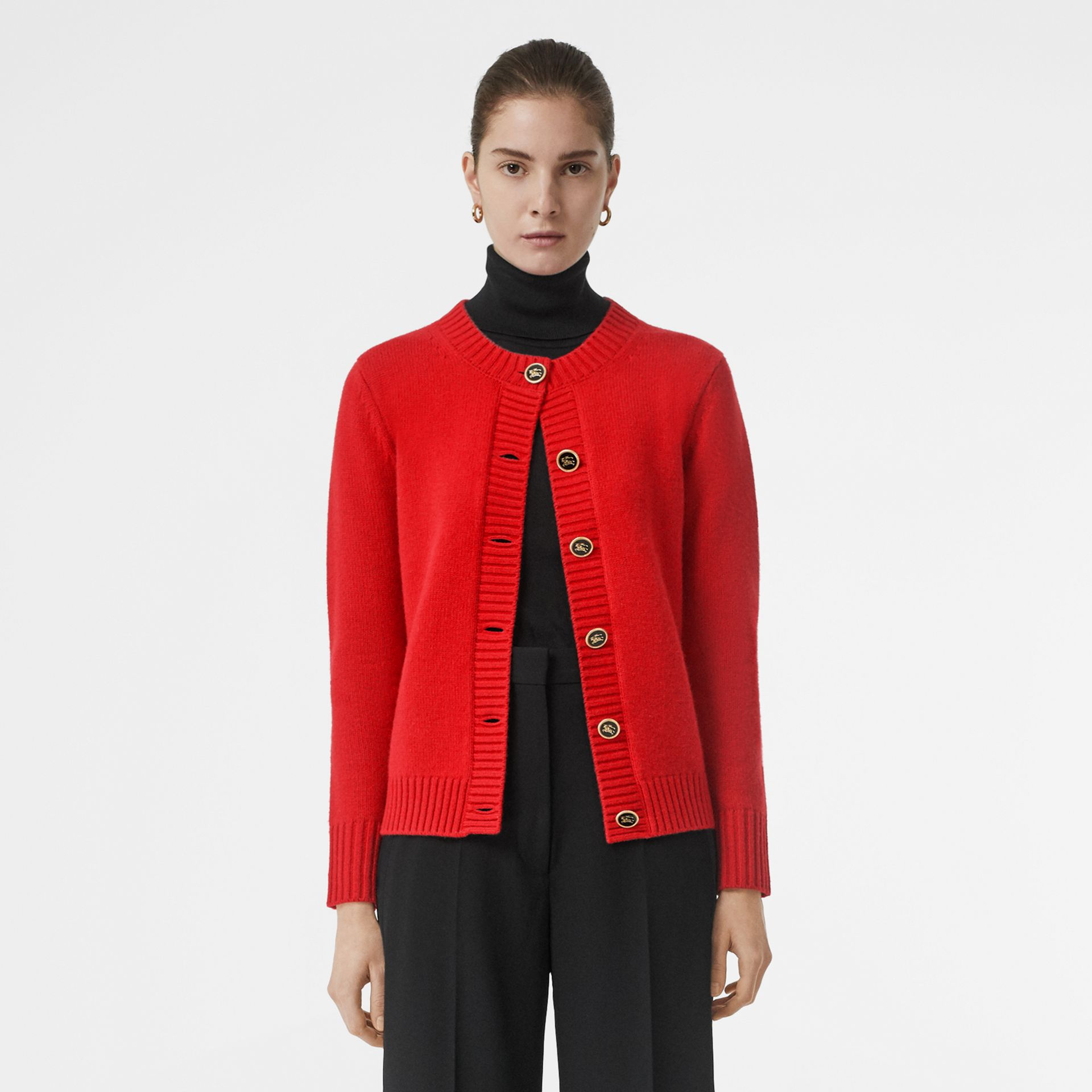 Logo Button Cashmere Crew Neck Cardigan in Bright Red - Women | Burberry - gallery image 5