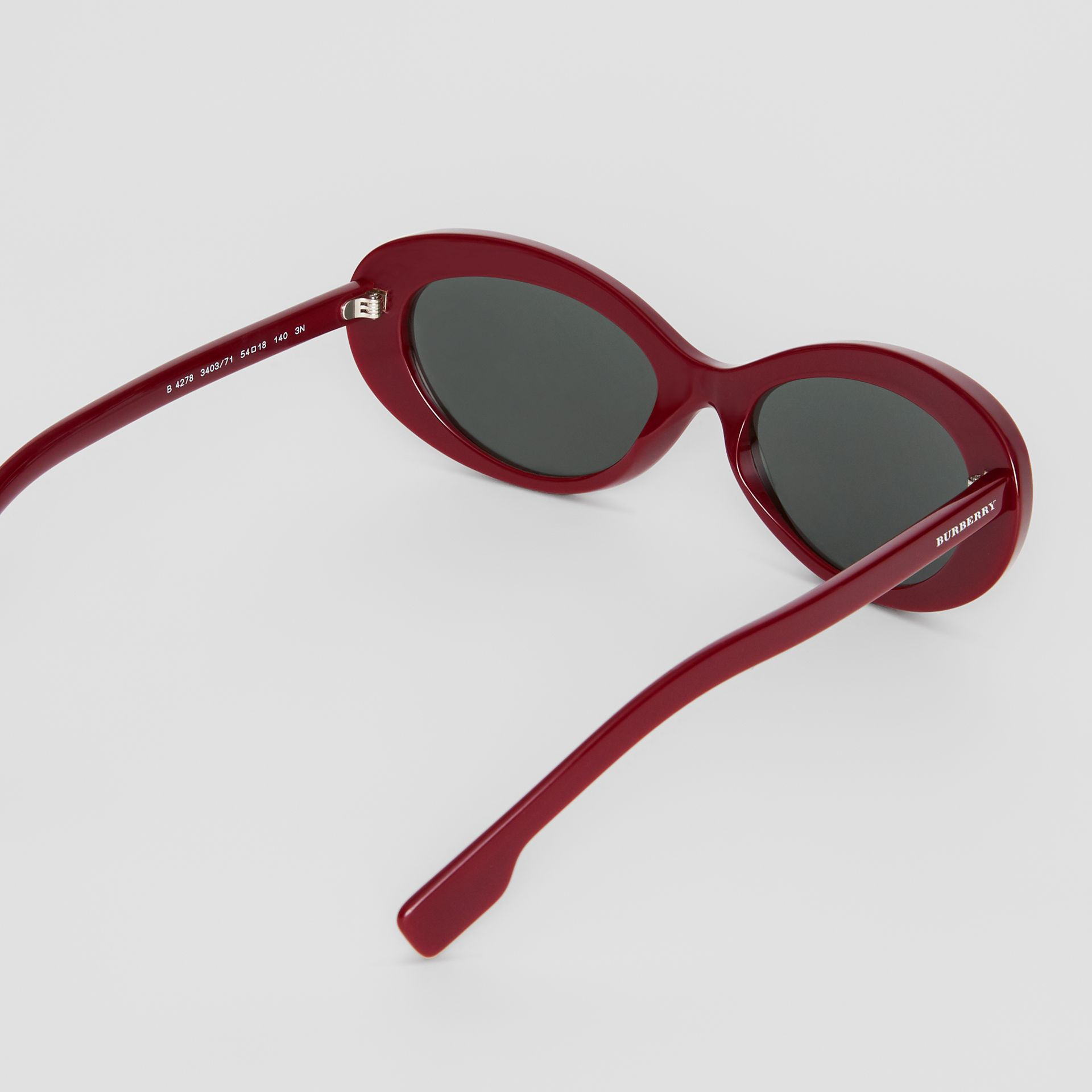 Cat-eye Frame Sunglasses in Burgundy - Women | Burberry - gallery image 4