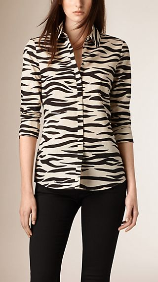 Zebra Print Cotton Silk Shirt