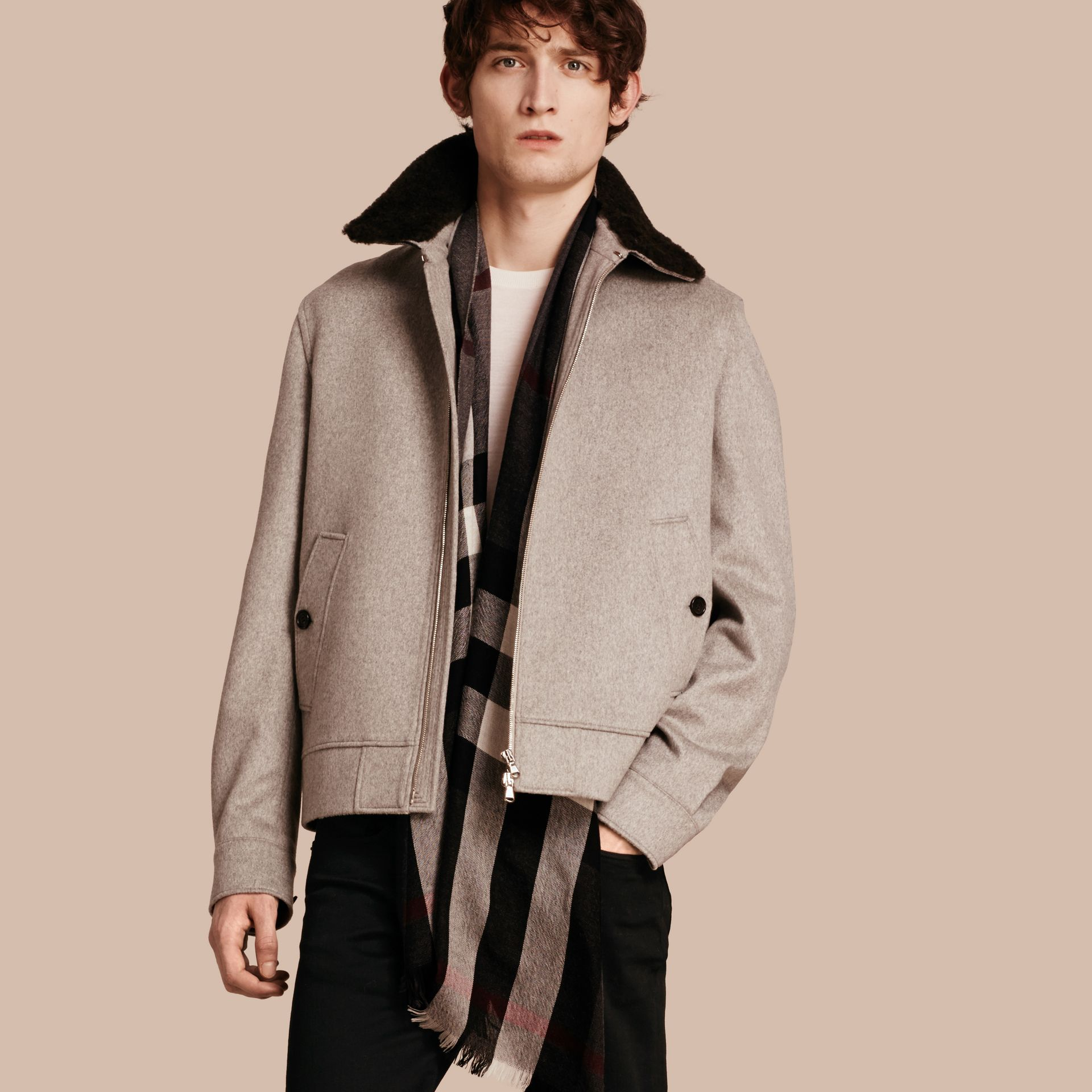 Pale grey melange Cashmere Jacket with Detachable Shearling Collar - gallery image 1