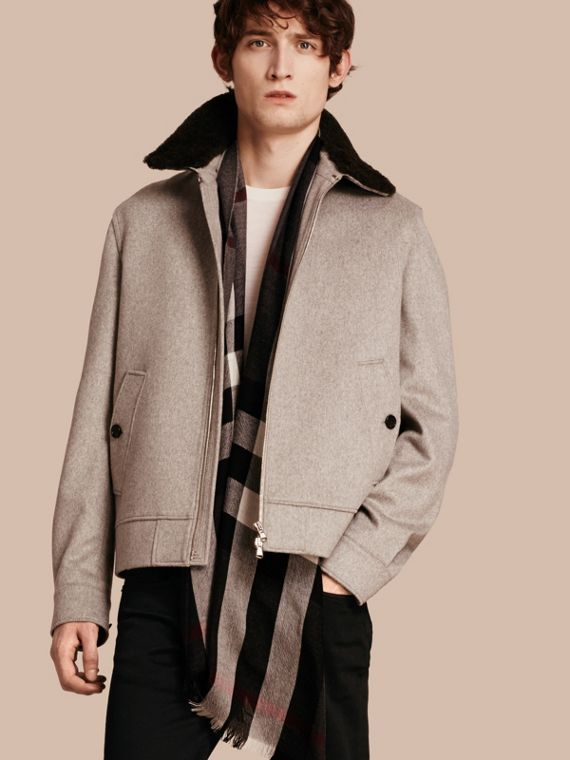 Cashmere Jacket with Detachable Shearling Collar