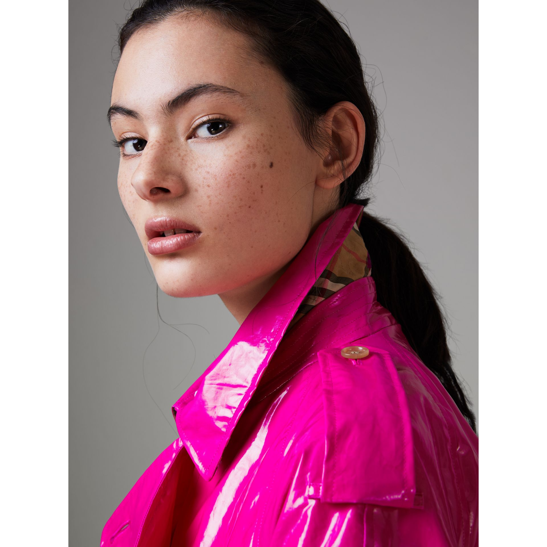 Laminated Cotton Trench Coat in Neon Pink - Women | Burberry United States - gallery image 1