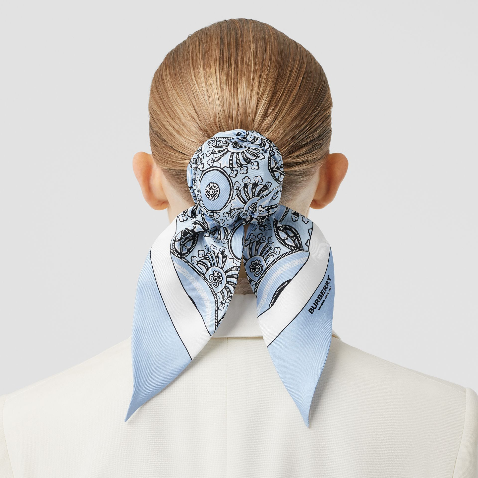 Antique Print Silk Hair Scarf in Pale Blue - Women | Burberry - gallery image 2
