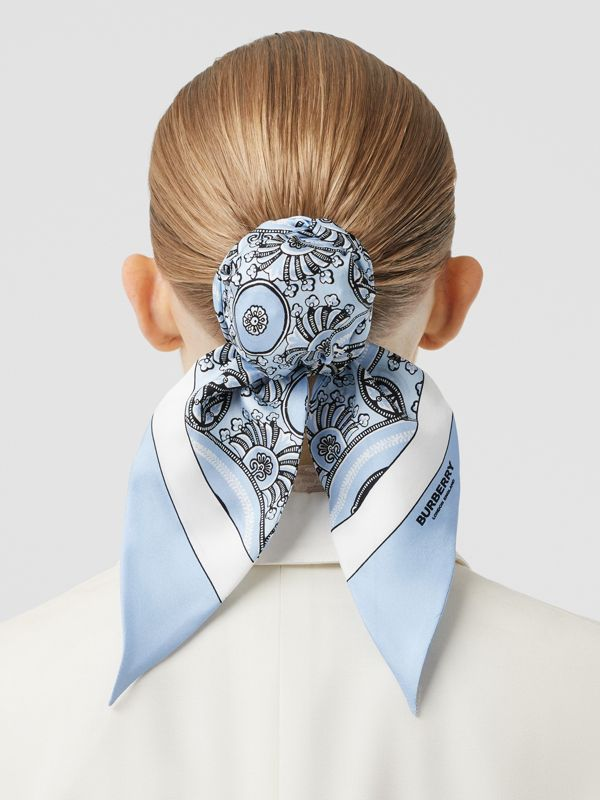 Antique Print Silk Hair Scarf in Pale Blue - Women | Burberry Australia - cell image 2