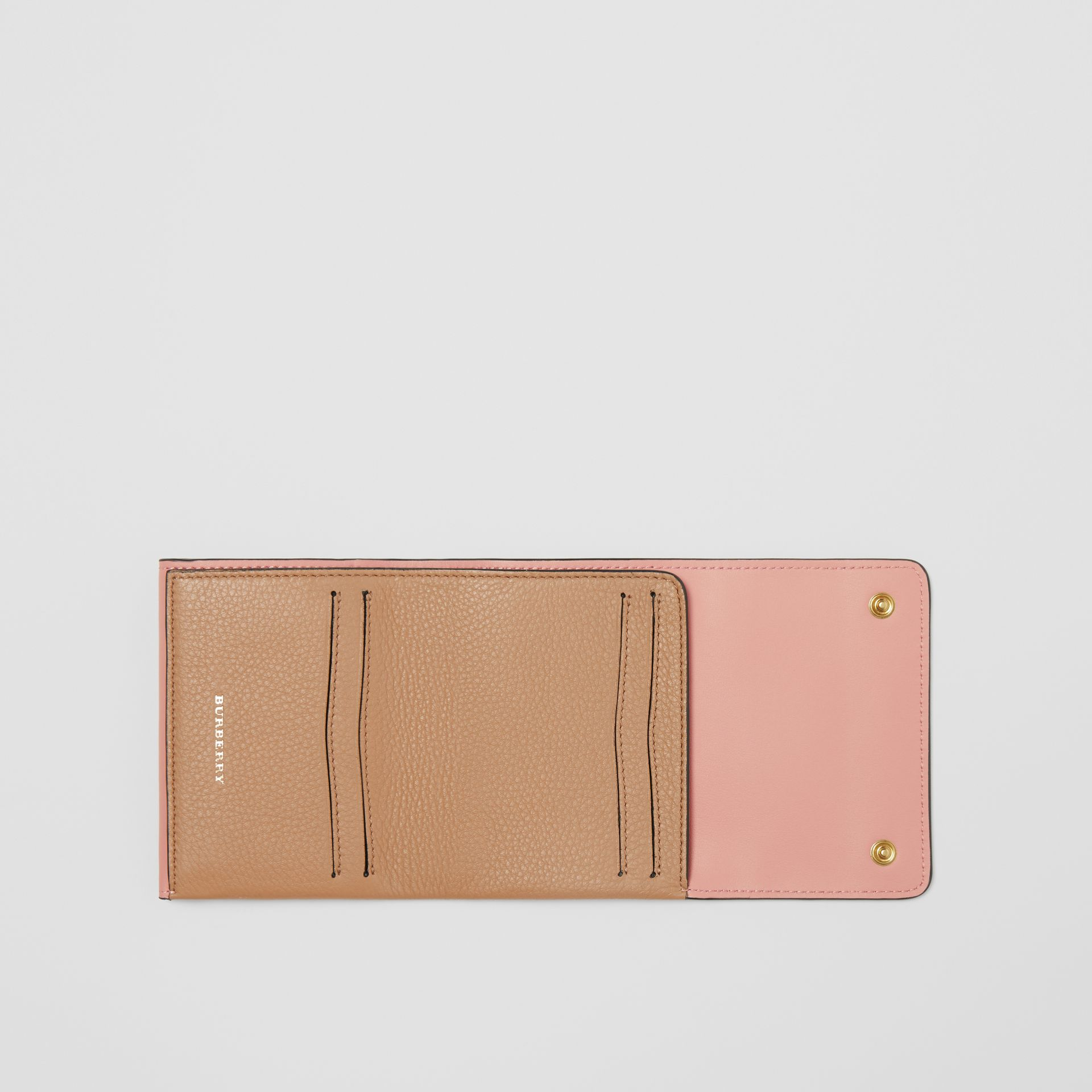 Small Leather Folding Wallet in Light Camel - Women | Burberry - gallery image 3