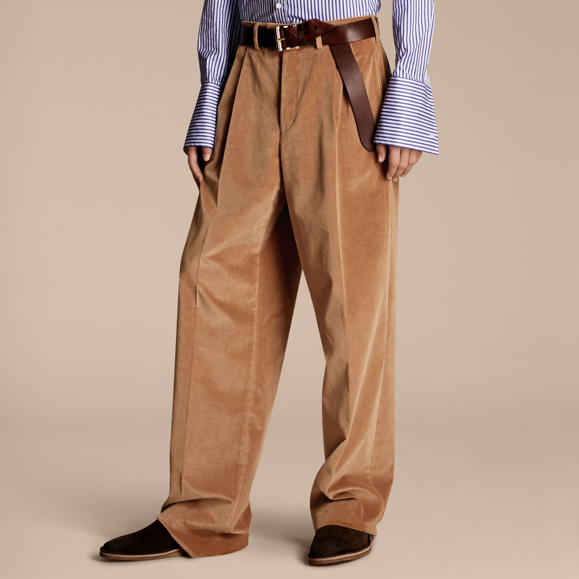 Wide-leg Salt-washed Velvet Trousers in Mid Camel - gallery image 1