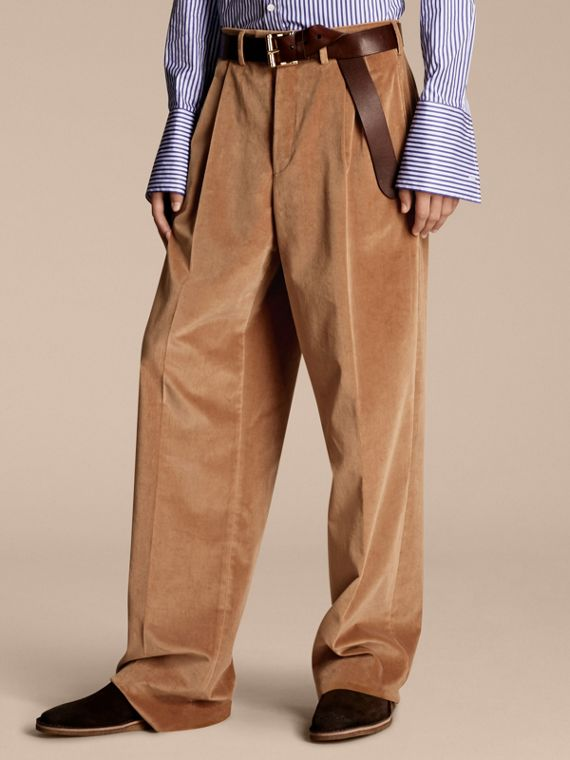 Wide-leg Salt-washed Velvet Trousers Mid Camel