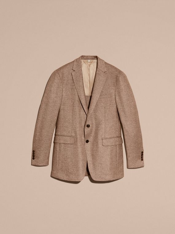 Camel Modern Fit Wool Cashmere Silk Tailored Jacket - cell image 3