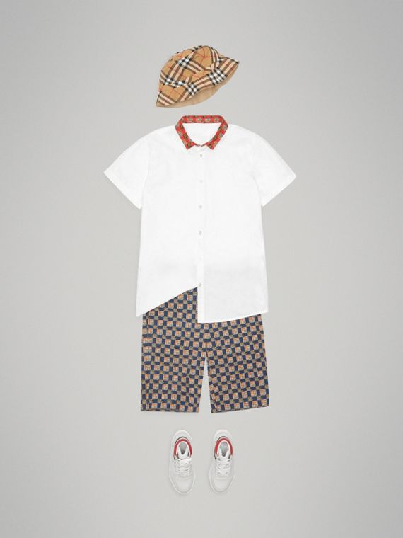 Short-sleeve Tiled Archive Print Collar Cotton Shirt in White - Boy | Burberry Singapore - cell image 2