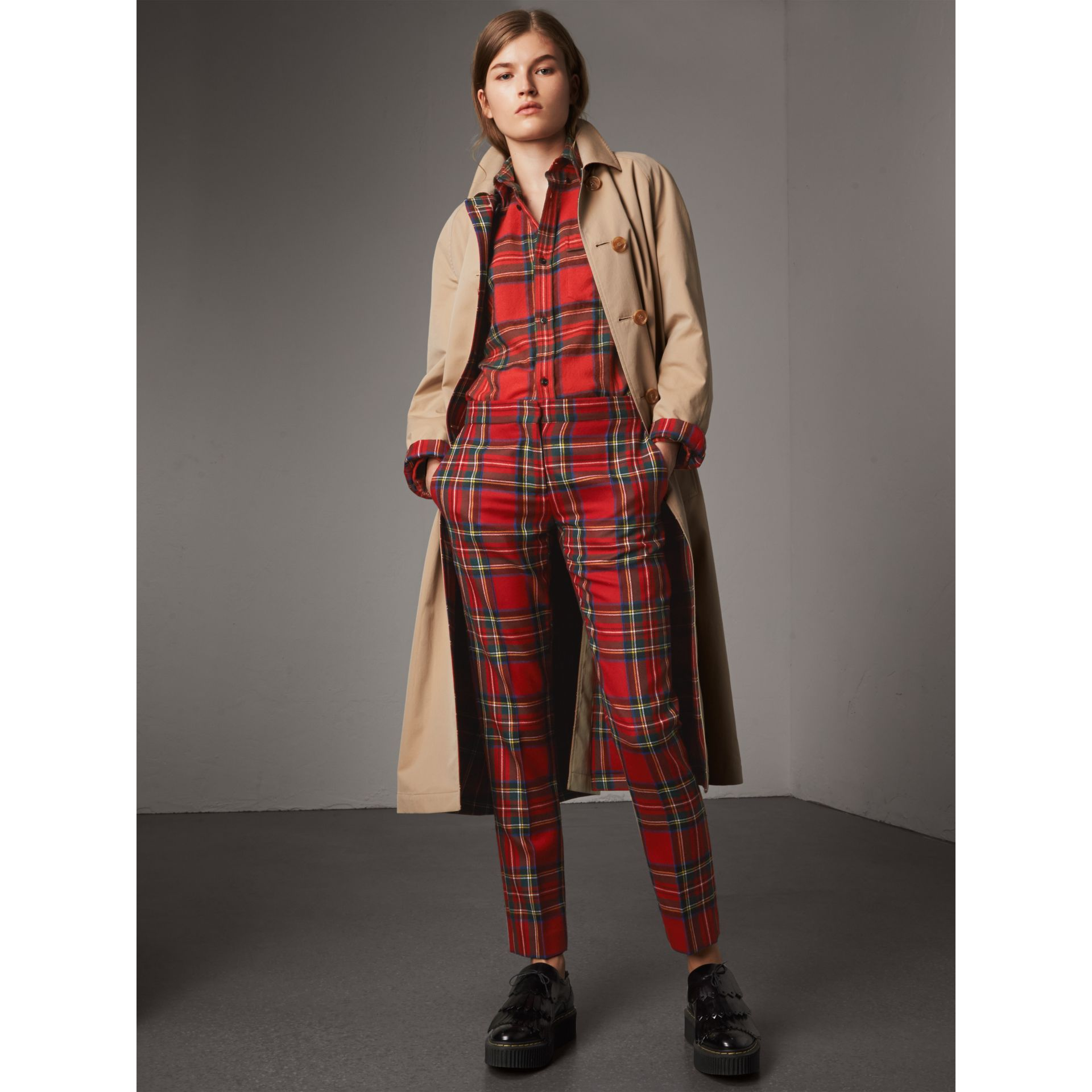 Tartan Wool Shirt in Bright Red - Women | Burberry - gallery image 5