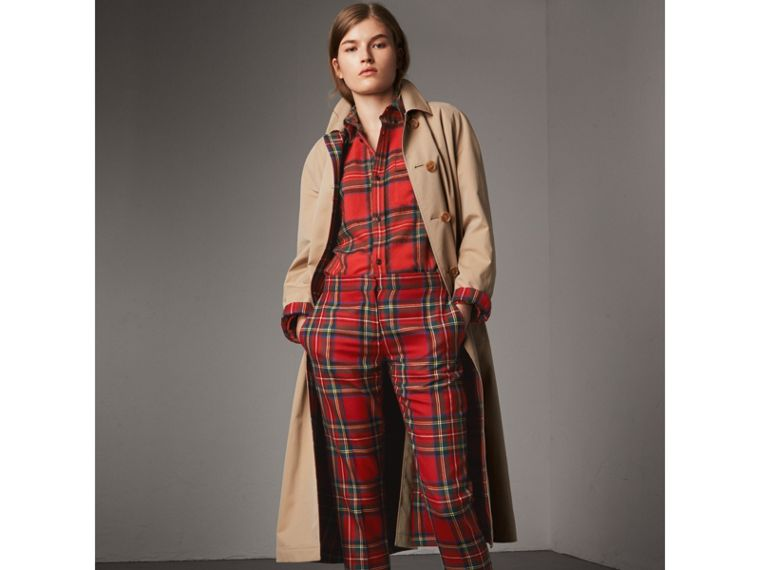 Tartan Wool Shirt in Bright Red - Women | Burberry - cell image 4