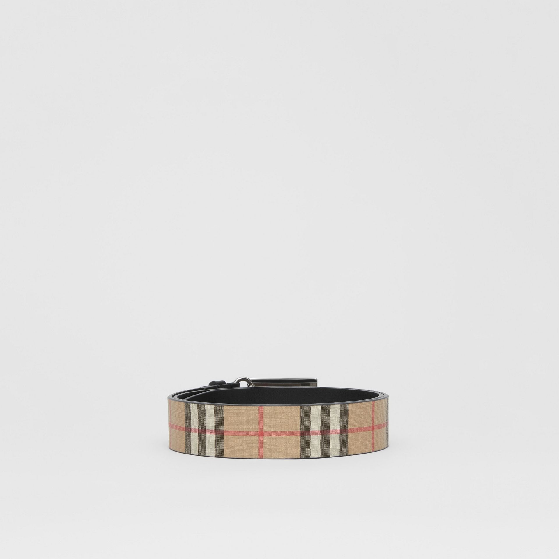 Plaque Buckle Vintage Check E-canvas Belt in Archive Beige - Men | Burberry United Kingdom - gallery image 4