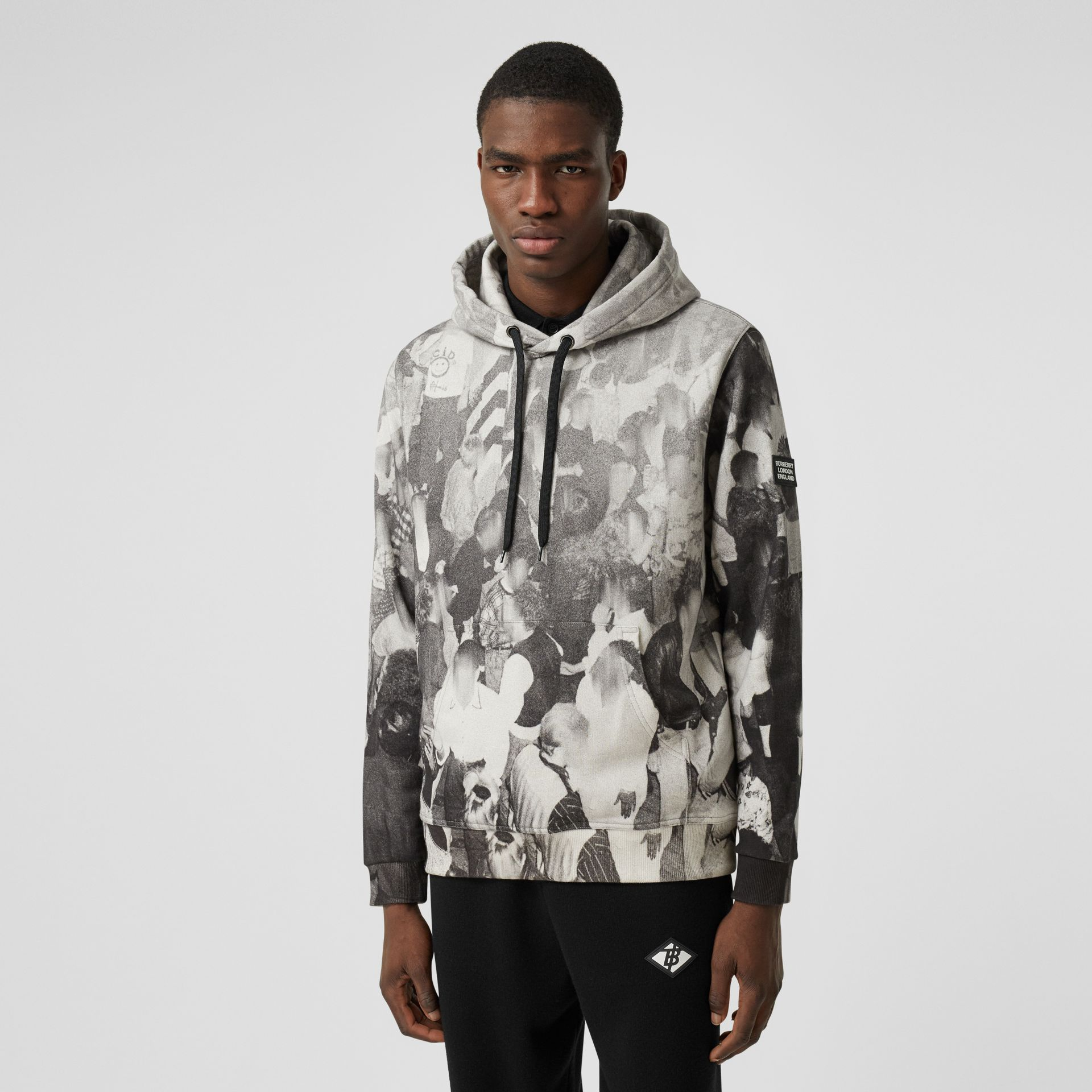 Rave Print Cotton Hoodie in Monochrome - Men | Burberry - gallery image 0