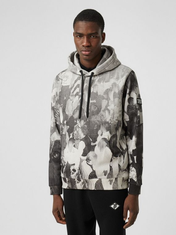 Rave Print Cotton Hoodie in Monochrome