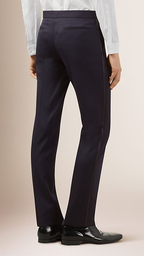 Navy Virgin Wool Tuxedo Trousers - Image 2