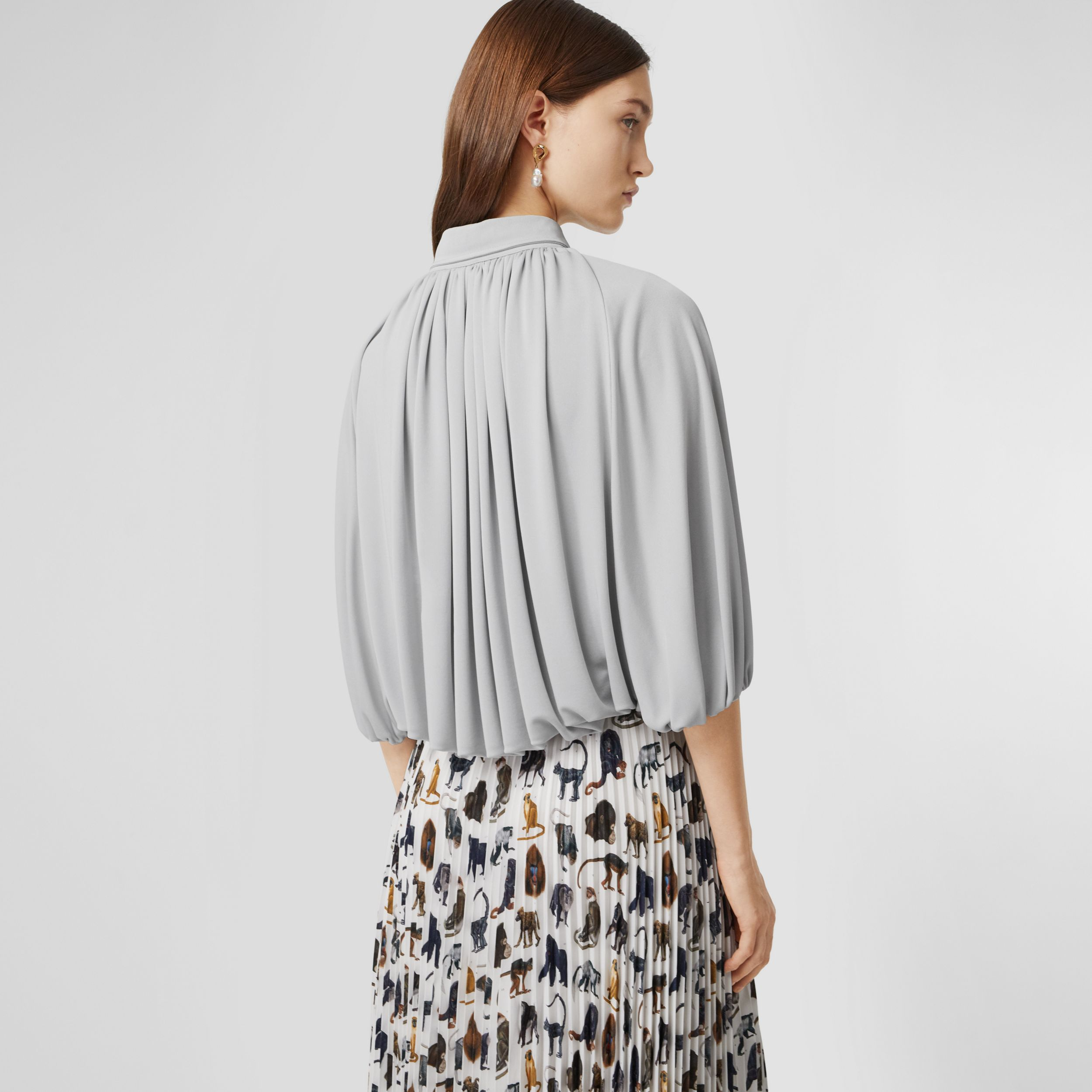 Gathered Jersey Bubble Hem Blouse in Light Pebble Grey - Women | Burberry - 3