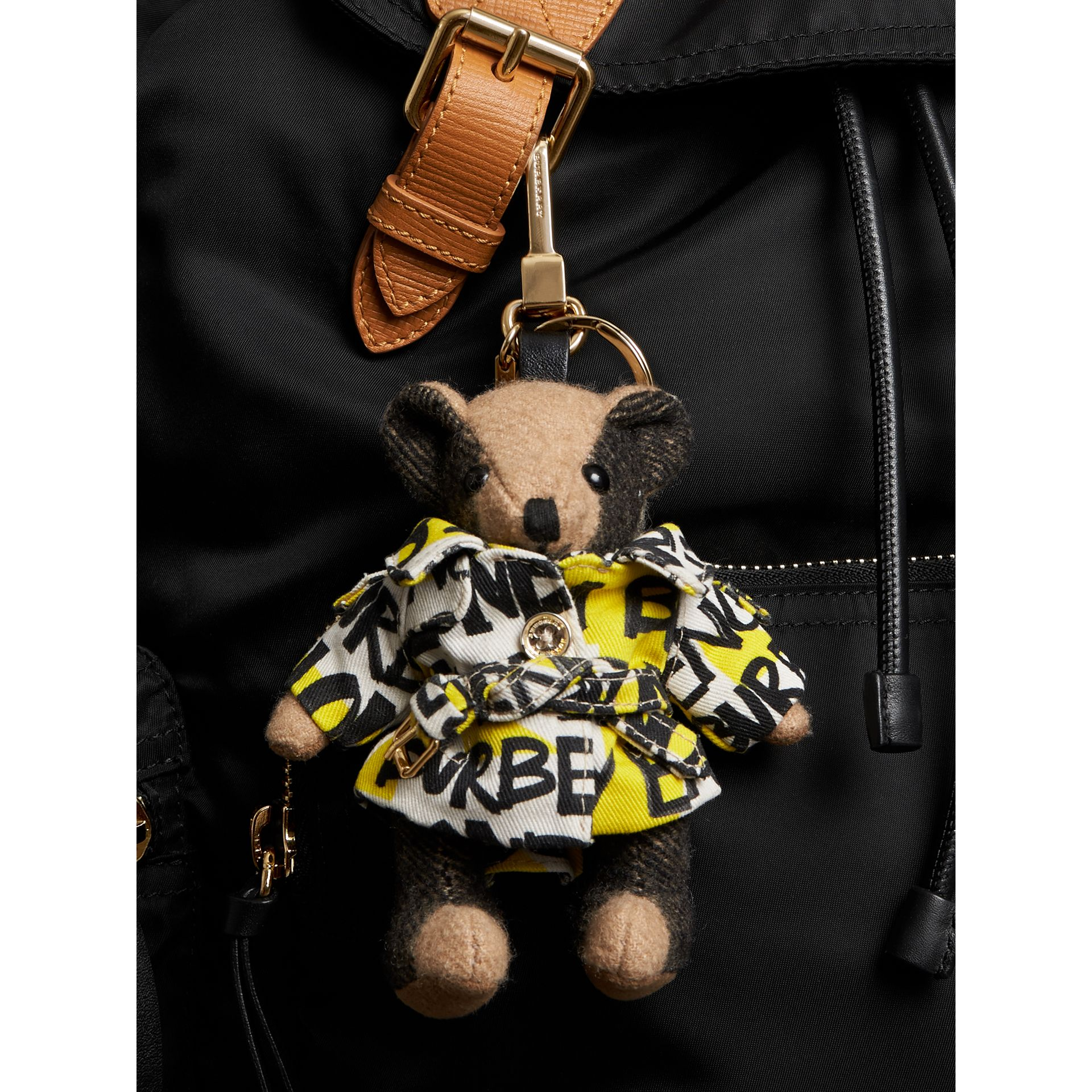 Thomas Bear Charm in Graffiti Print Trench Coat in Camel | Burberry Australia - gallery image 2