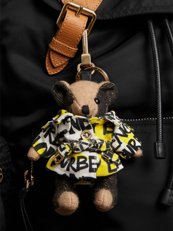 Thomas Bear Charm in Graffiti Print Trench Coat in Camel | Burberry Australia - cell image 2