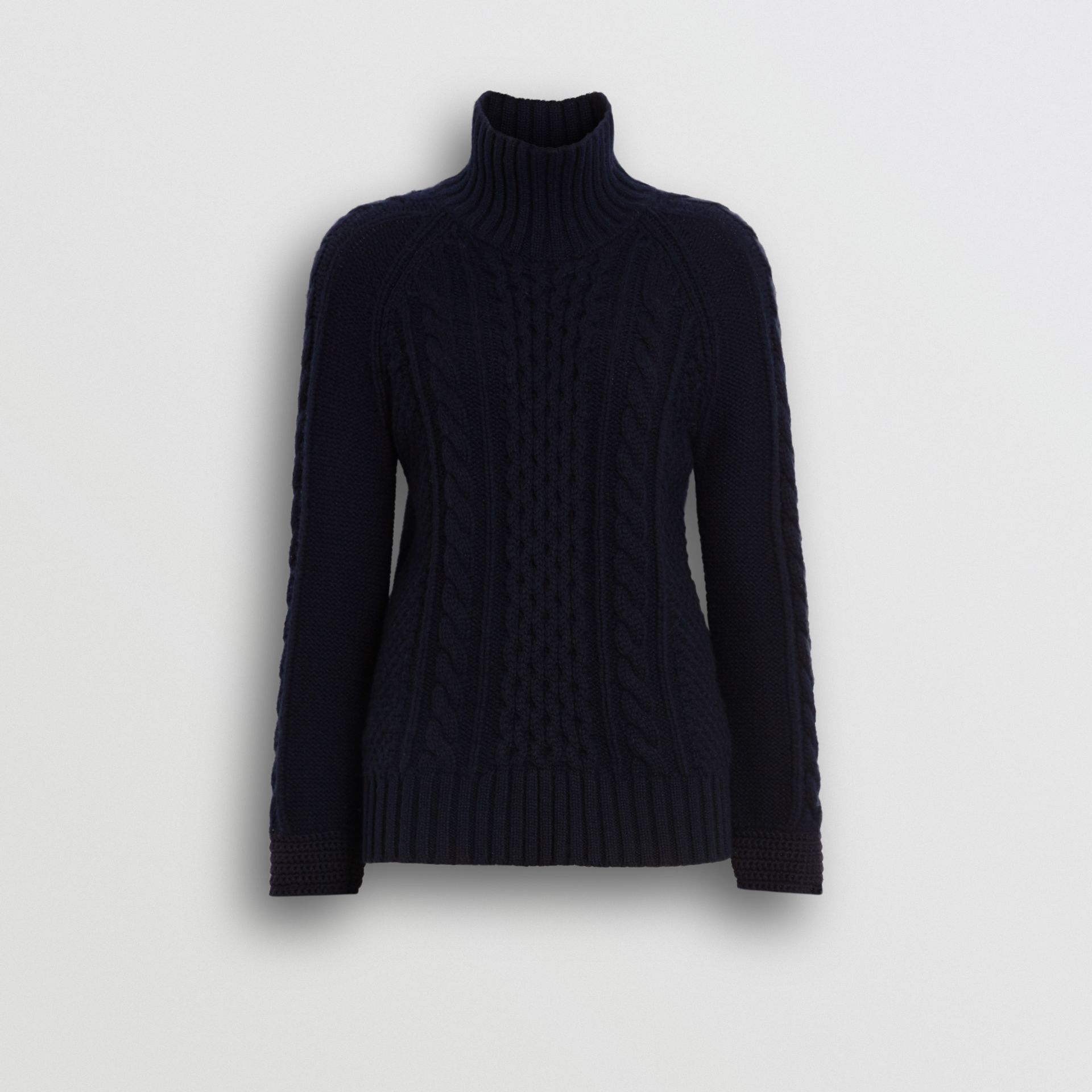 Cable Knit Cashmere Turtleneck Sweater in Navy - Women | Burberry - gallery image 3