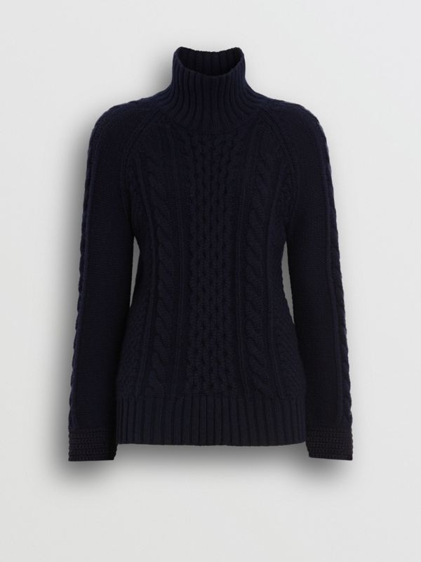 Cable Knit Cashmere Turtleneck Sweater in Navy - Women | Burberry - cell image 3