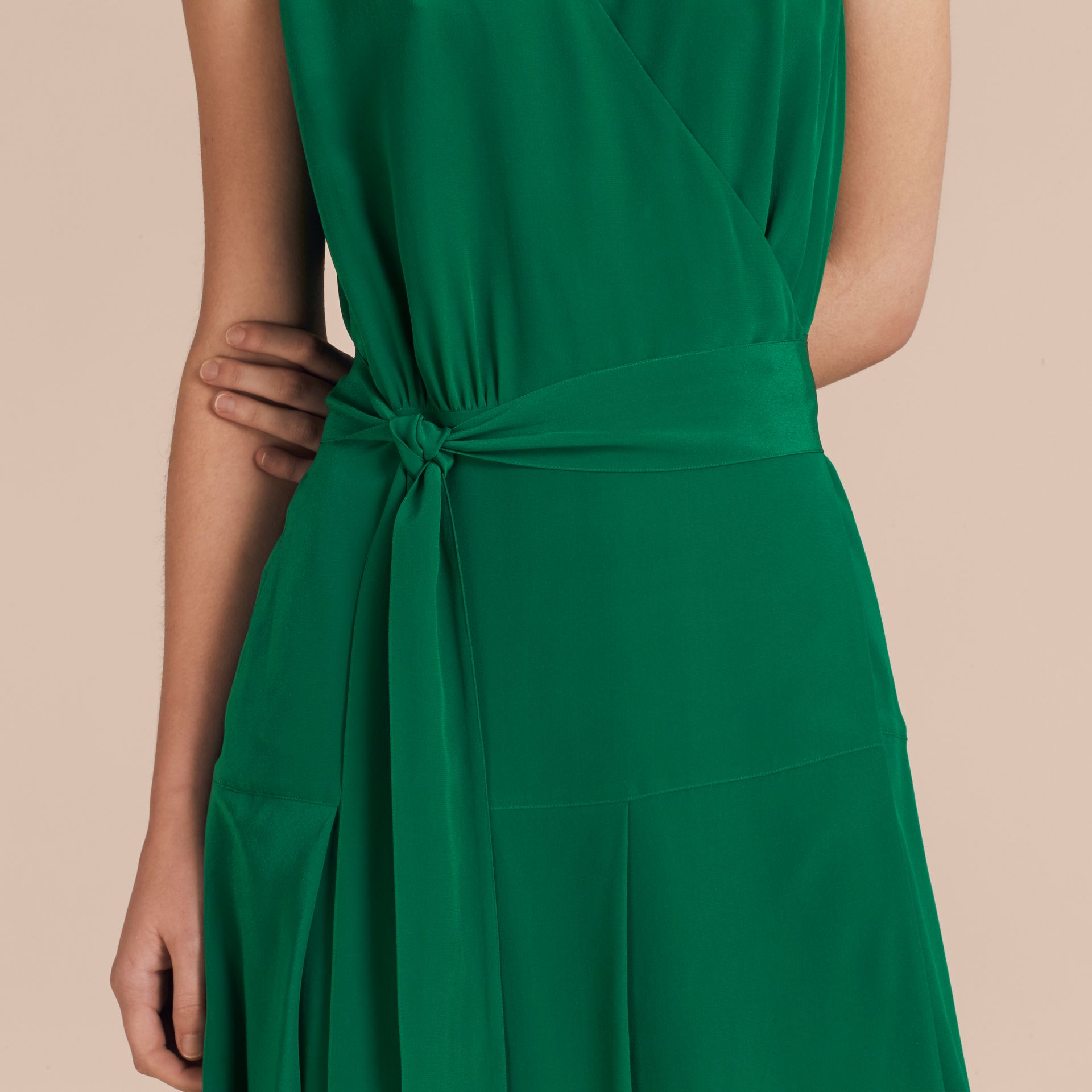Kelly green Cape Detail Silk Wrap Dress Kelly Green - gallery image 5