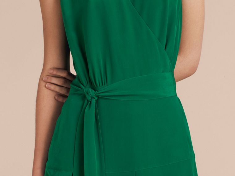 Kelly green Cape Detail Silk Wrap Dress Kelly Green - cell image 4