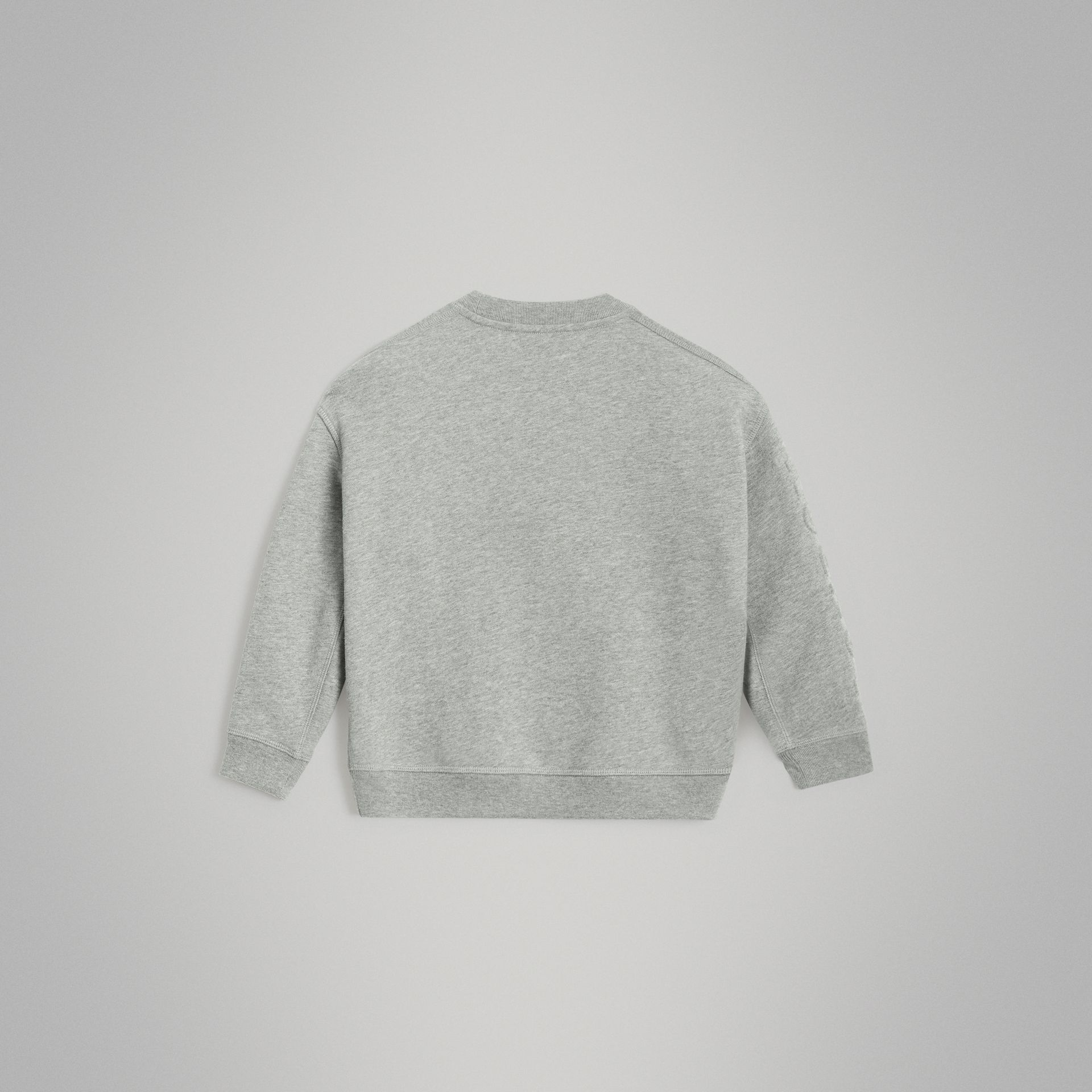 Embossed Logo Cotton Sweatshirt in Grey Melange | Burberry - gallery image 4