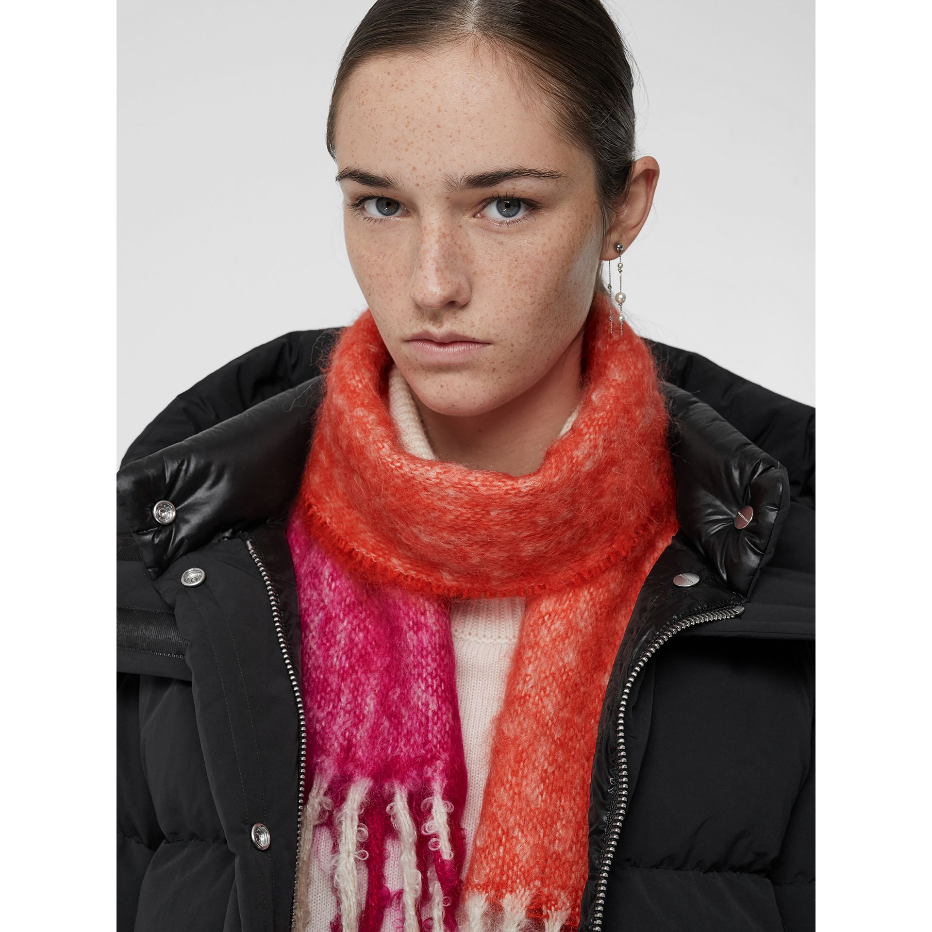 Two-tone Mohair Wool Scarf in Clementine | Burberry - gallery image 4