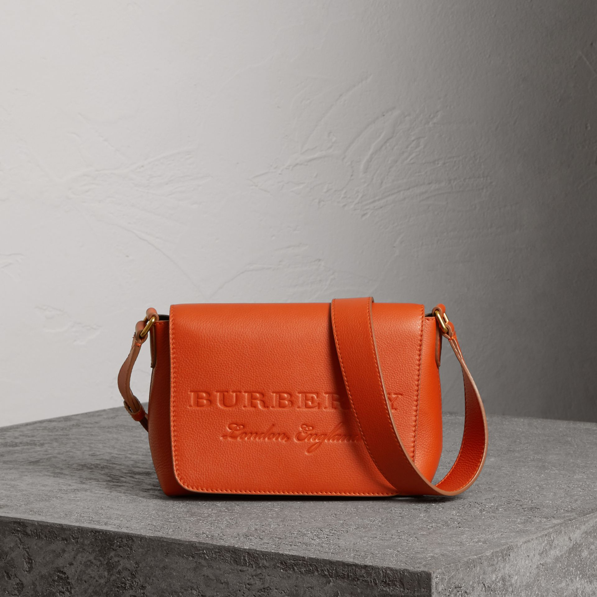 Small Embossed Leather Messenger Bag in Dark Clementine - Women | Burberry - gallery image 0