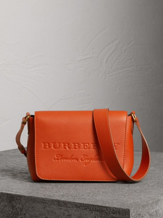 Small Embossed Leather Messenger Bag in Dark Clementine