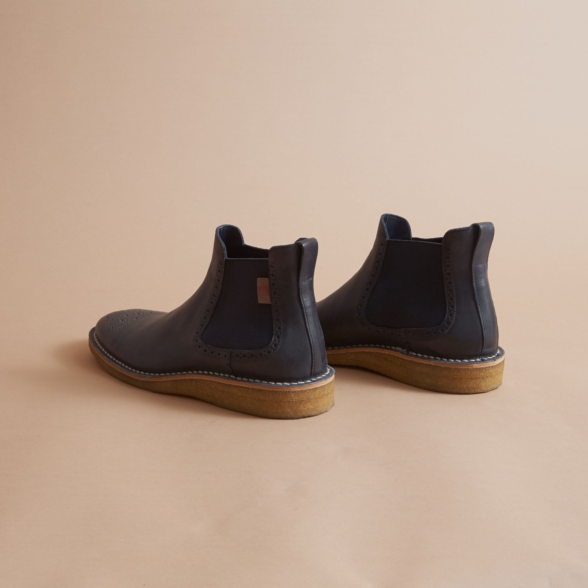 Leather Chelsea Boot in Navy - Men | Burberry - gallery image 3