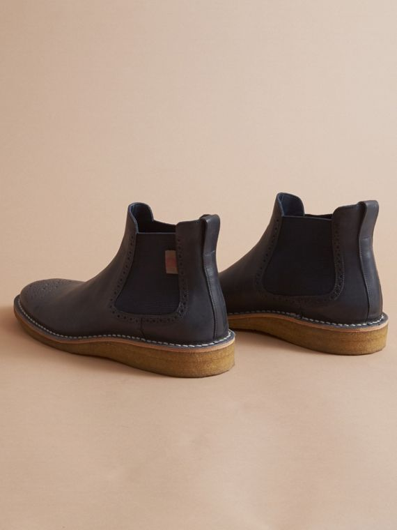 Leather Chelsea Boot in Navy - Men | Burberry - cell image 3