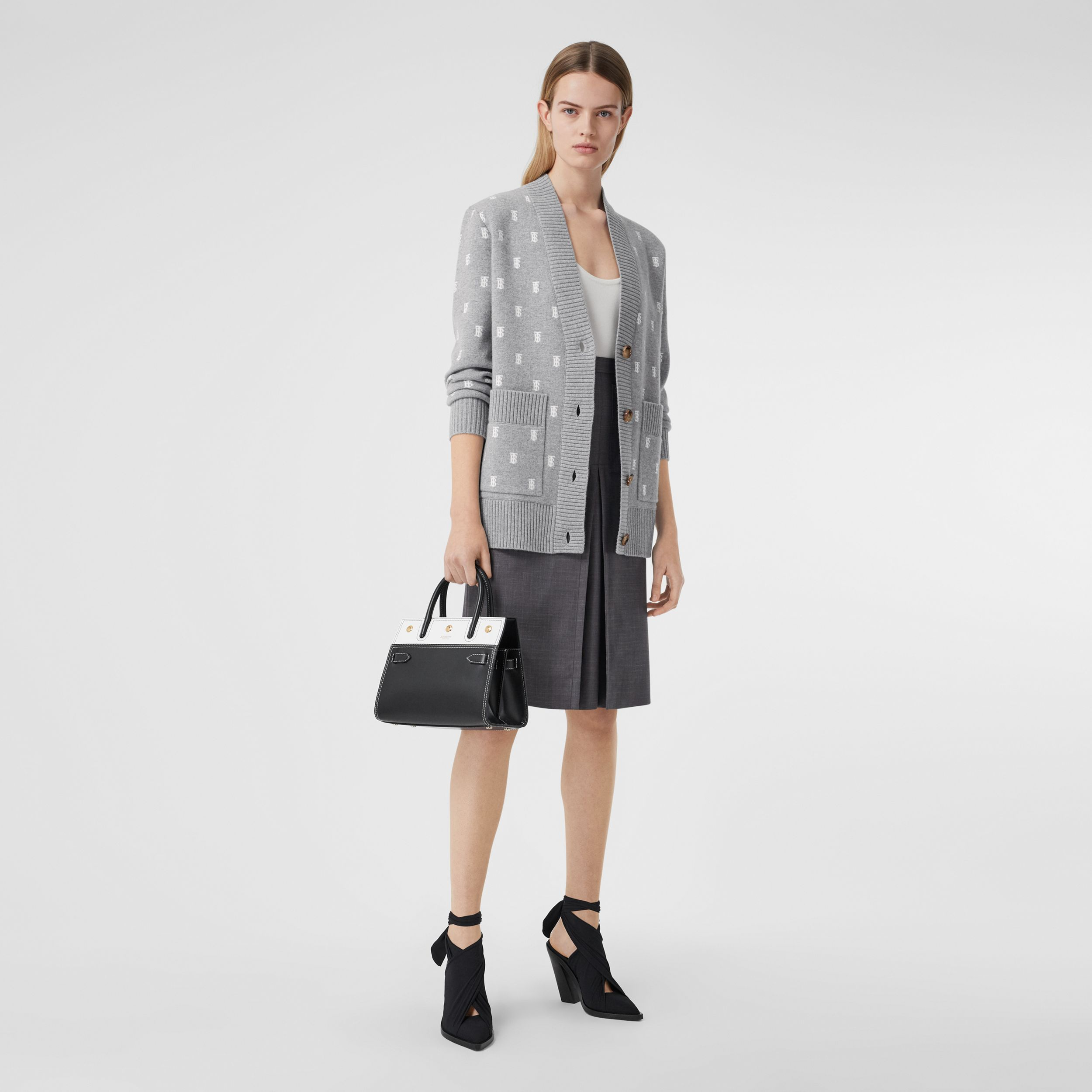 Monogram Wool Cashmere Blend Oversized Cardigan in Mid Grey Melange | Burberry - 1