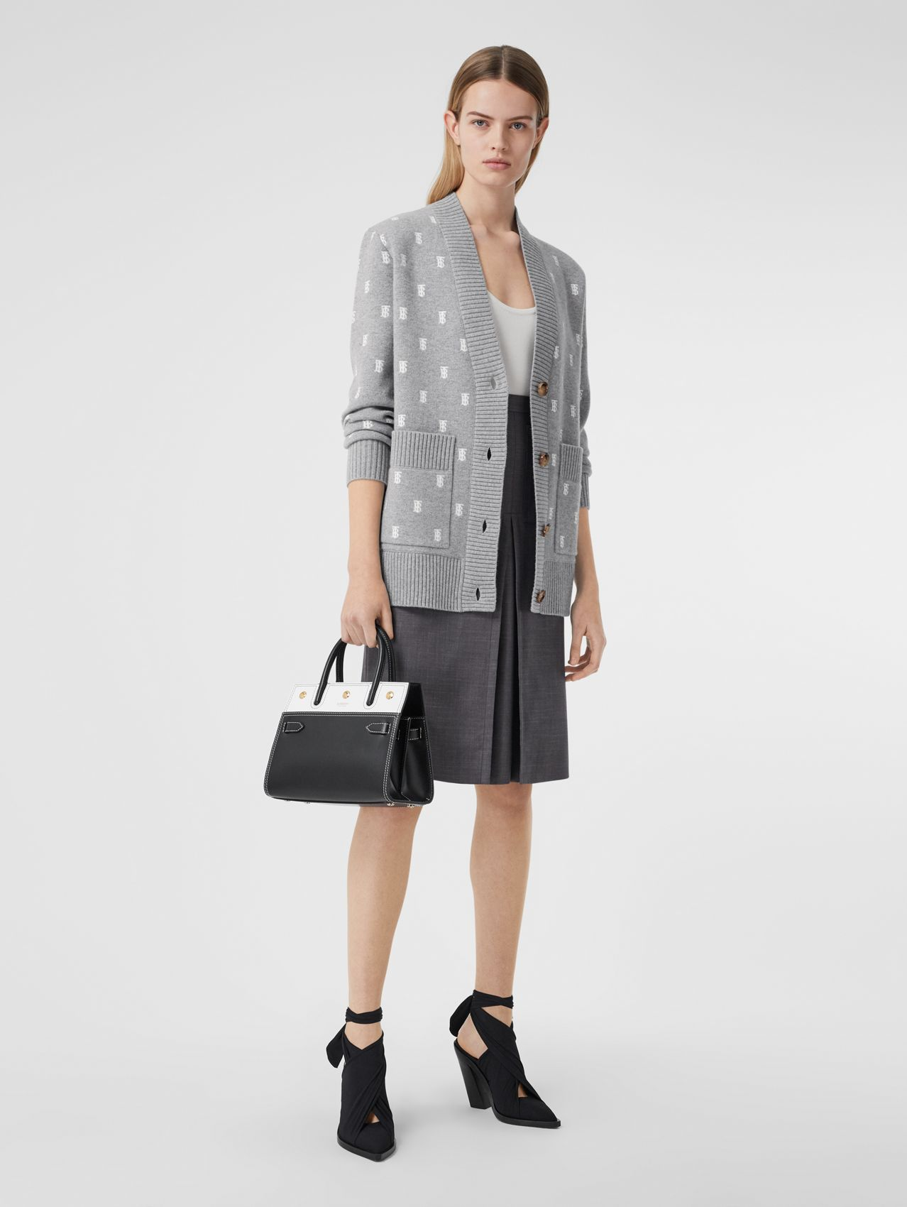 Monogram Wool Cashmere Blend Oversized Cardigan in Mid Grey Melange