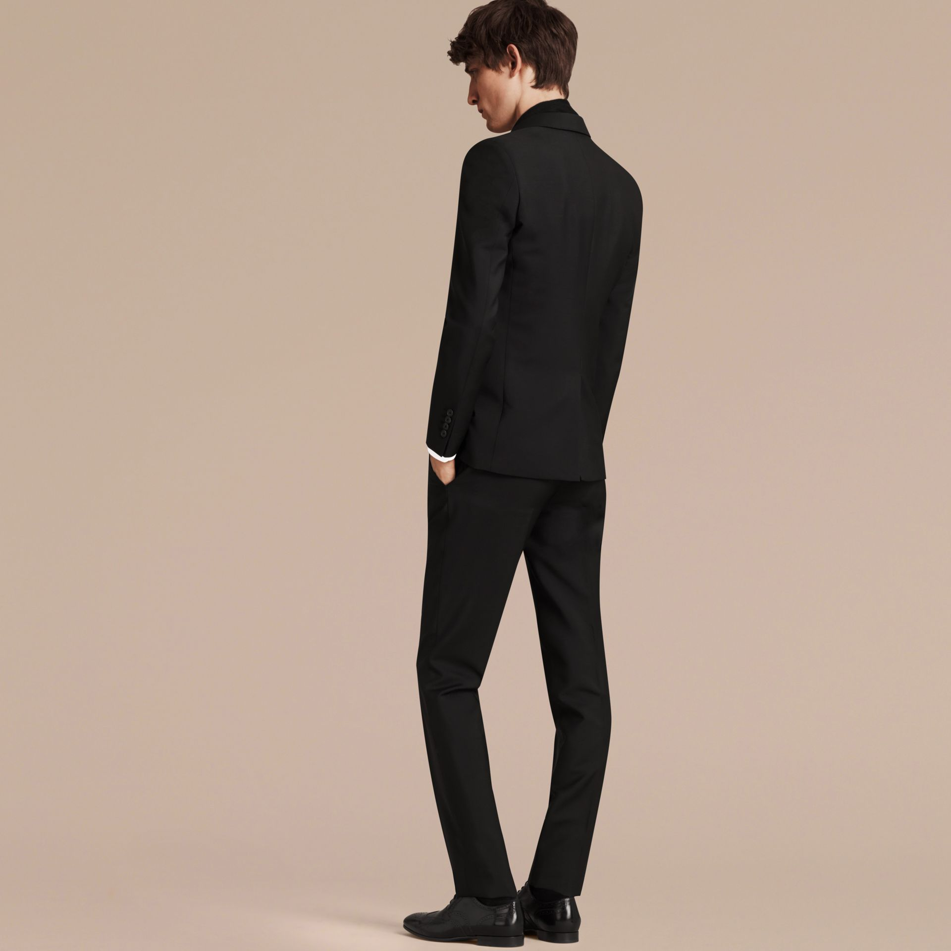 Slim Fit Wool Mohair Part-canvas Suit in Black - Men | Burberry Singapore - gallery image 3