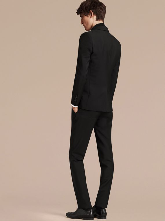 Slim Fit Wool Mohair Part-canvas Suit in Black - Men | Burberry Singapore - cell image 2