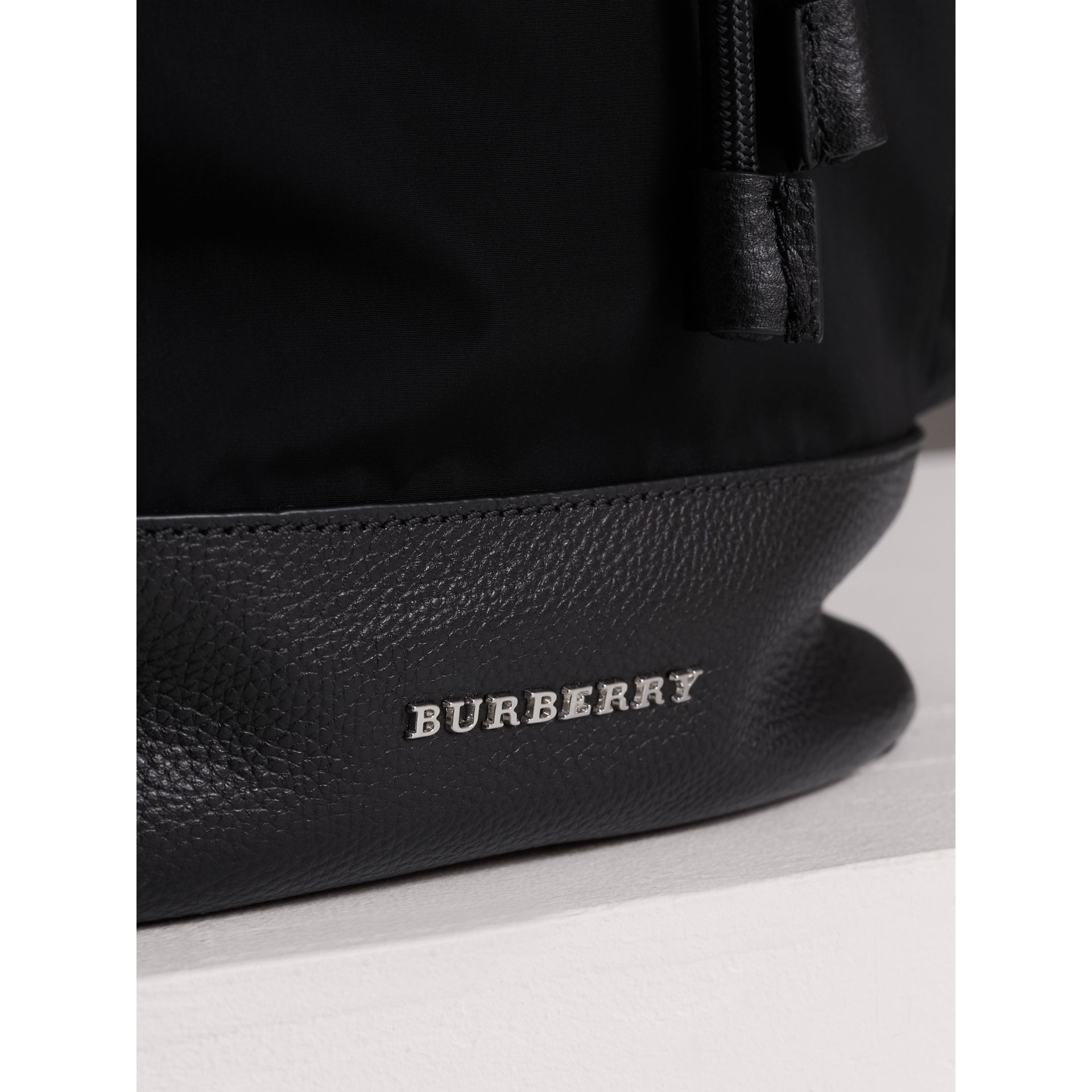 Leather Trim Baby Changing Rucksack in Black | Burberry - gallery image 1