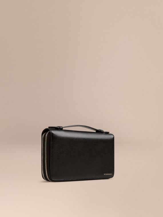 London Leather Travel Wallet in Black - Men | Burberry Singapore