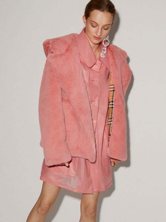 Faux Fur Hooded Jacket in Pale Pink - Women | Burberry Singapore - cell image 2