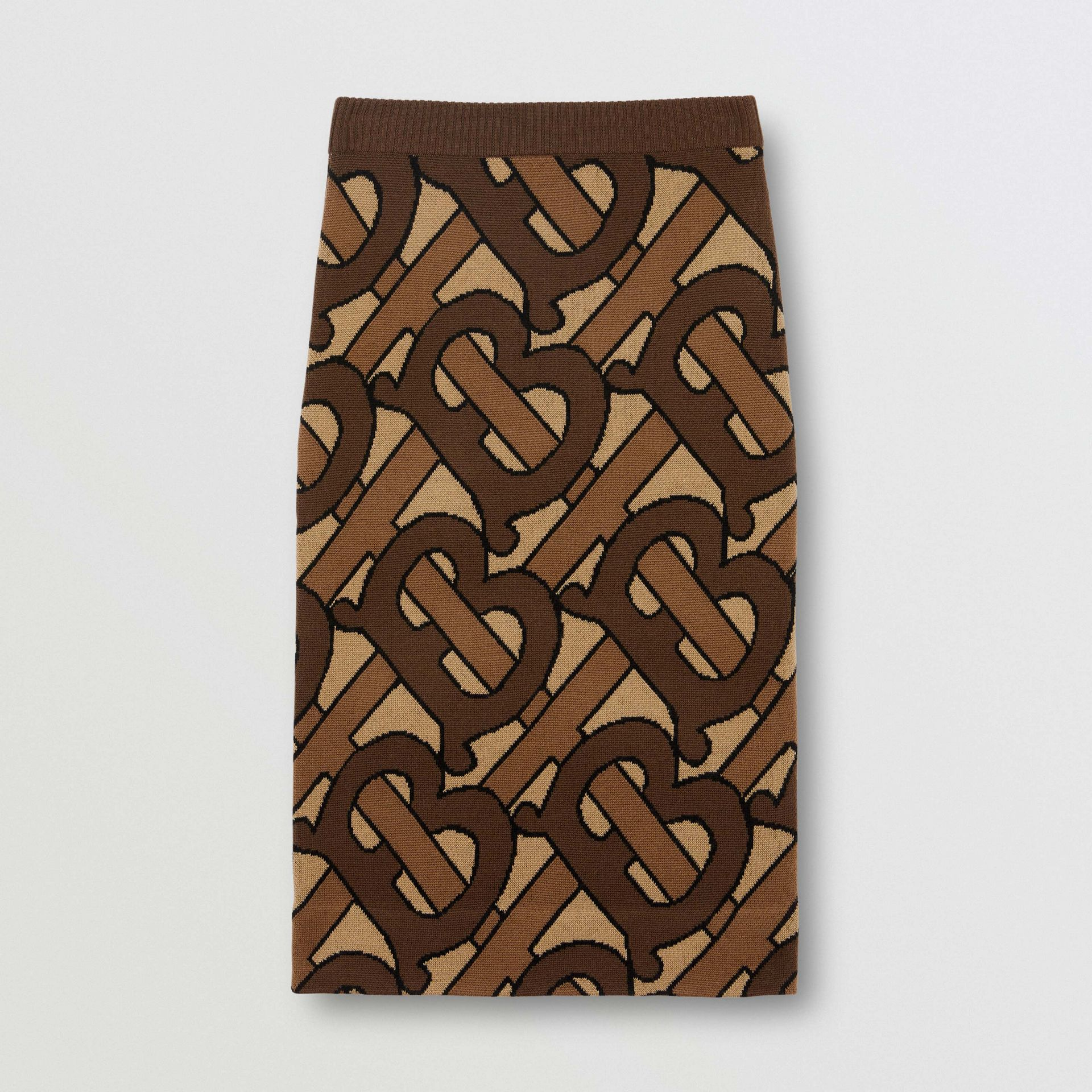 Monogram Intarsia Wool Pencil Skirt in Bridle Brown - Women | Burberry Australia - gallery image 3