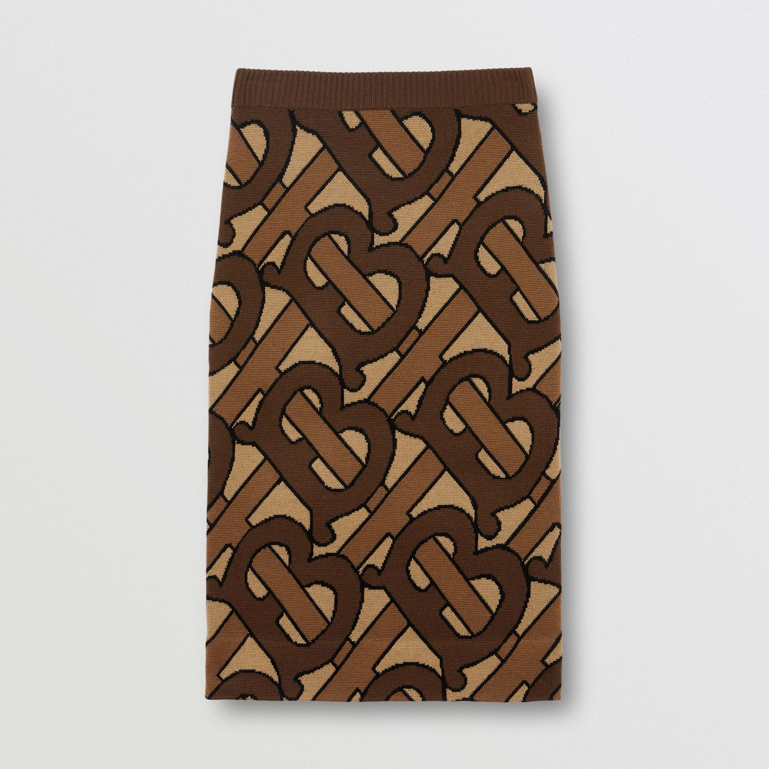 Monogram Intarsia Wool Pencil Skirt in Bridle Brown - Women | Burberry - 4